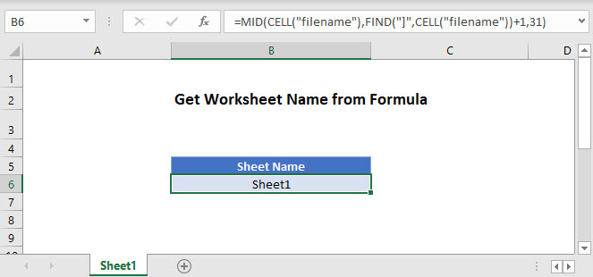 get sheet name Main Function