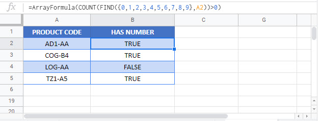 if cell contains any number Google Function