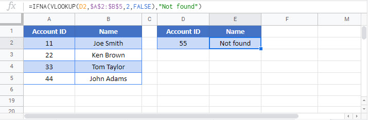 if isna vlookup Google Function
