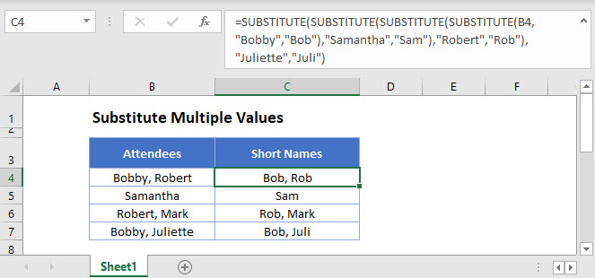 substitute multiple values Main Function