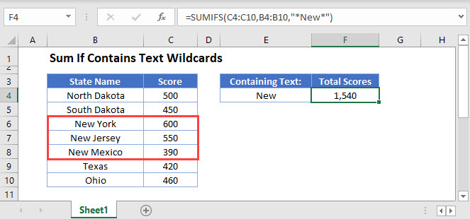 sum if contains text wildcards Main Function