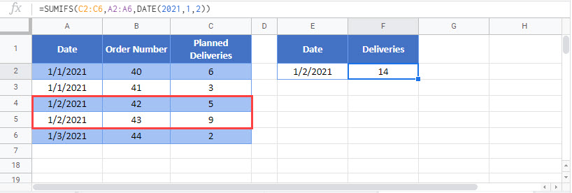 sum if dates equal Google Function