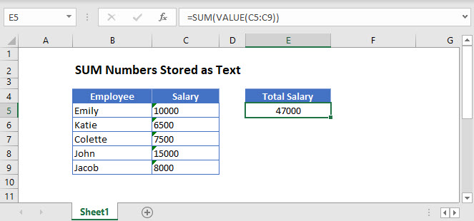sum text Main Function