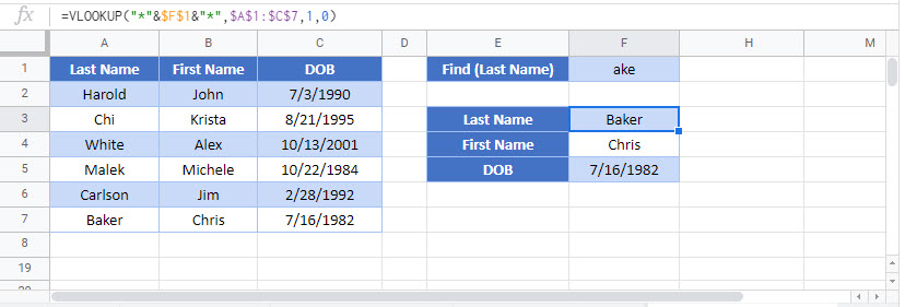 vlookup contains partial match Google Function