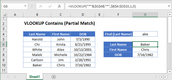 vlookup contains-partial match Main Function