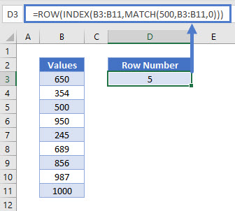 Find Row Using INDEX and MATCH