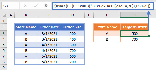 MAX IF Array Multiple Ref