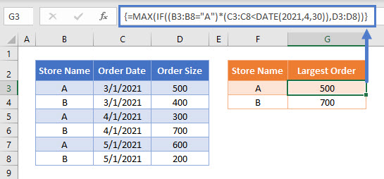 MAX IF Array Multiple