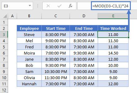 TimeSheet using MOD Function