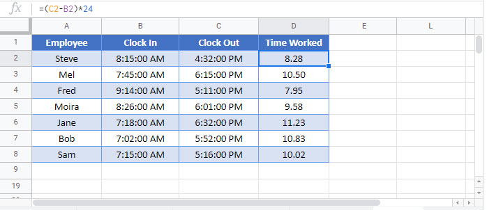 calculate hours between times Google Function