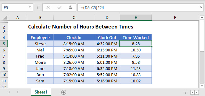 calculate hours between times Main Function