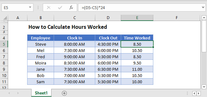 calculate hours worked Main Function
