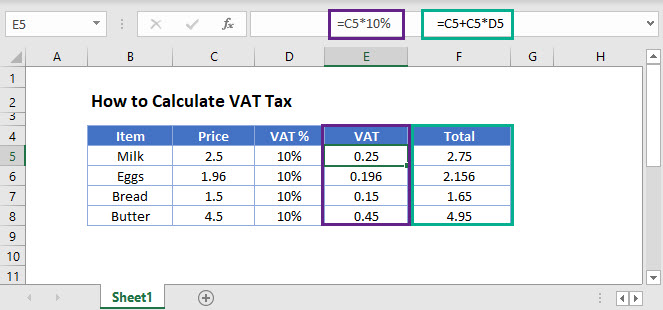 calculate vat tax Main Function