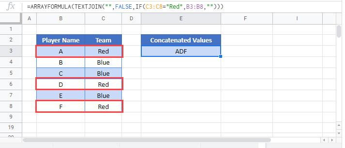 concatenate if Google Function