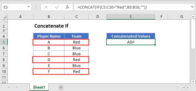 concatenate if Main Function