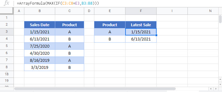 find earliest latest date with criteria Google Function