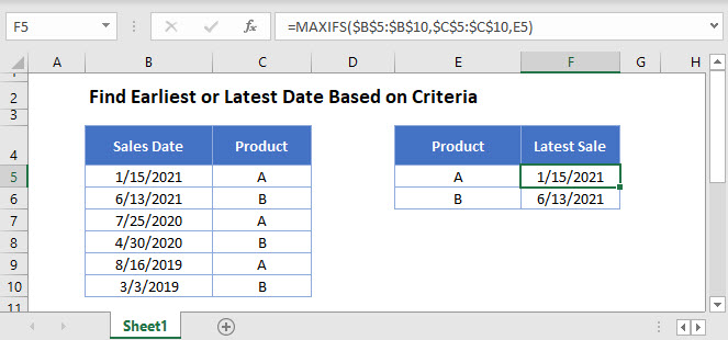 find earliest latest date with criteria Main Function