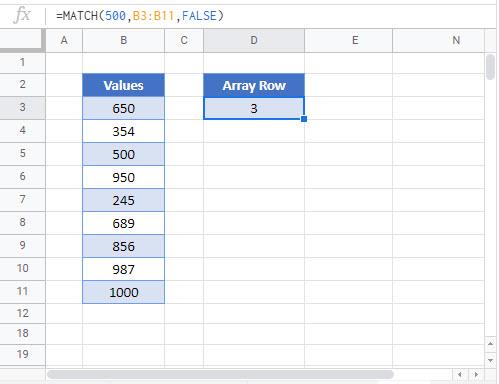 find number in column Google Function