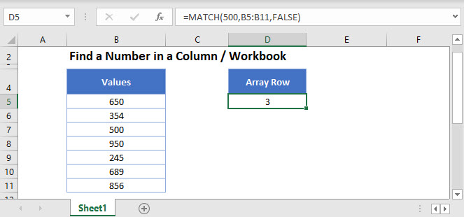 find number in column Main Function