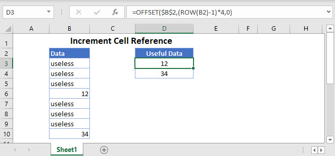 increment cell reference Main Function