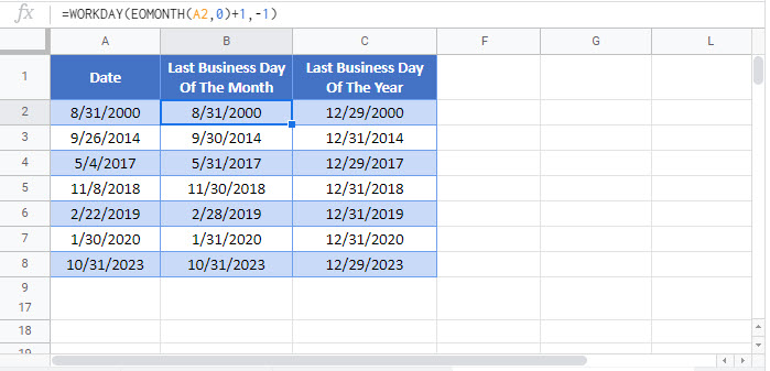 last business day month year updated Google Function