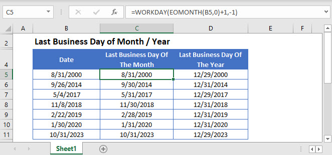 last-business day month year updated Main Function