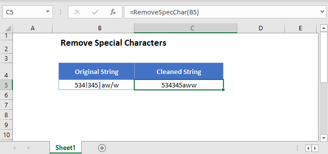 remove special characters Main Function