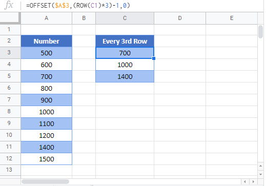 select every nth row Google Function