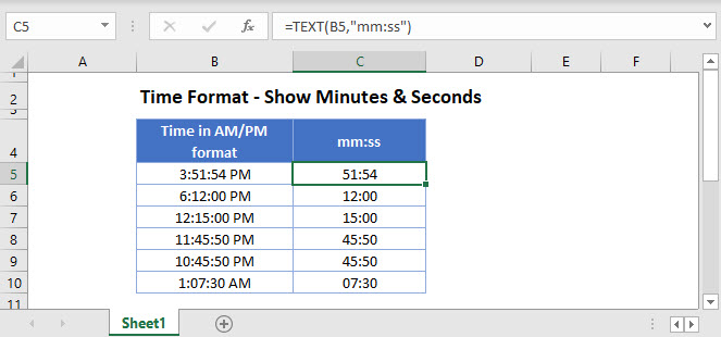 time format show minutes seconds Main Function