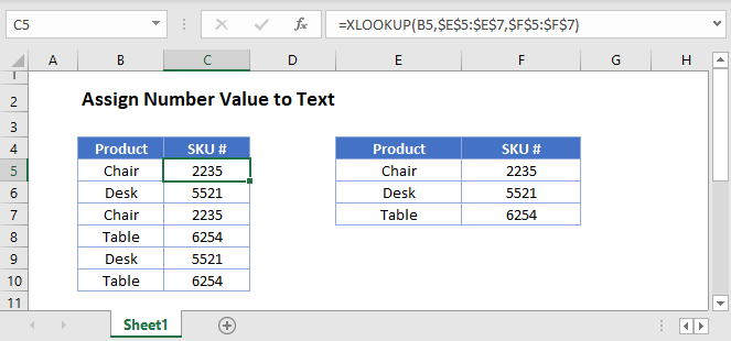 assign number value to text Main