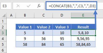 combine cells comma CONCAT