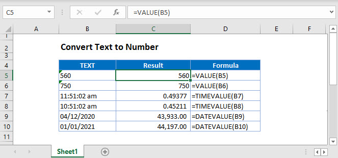 convert text number Main Function