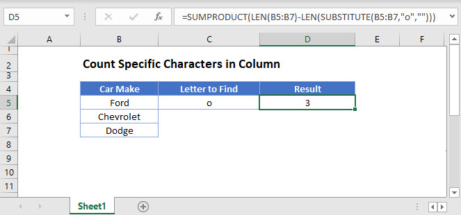 count specific characters column Main Function