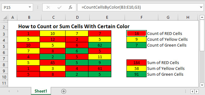 count sum cell color Main Function
