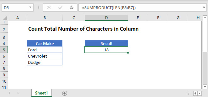 count total characters column Main Function