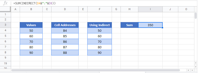 use cell value in formula Google