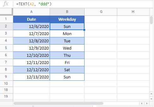 weekday abbreviations Google