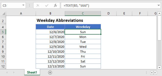 weekday abbreviations Main