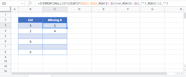 list skipped numbers in sequence Google Function