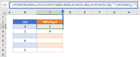list skipped numbers in sequence If Error
