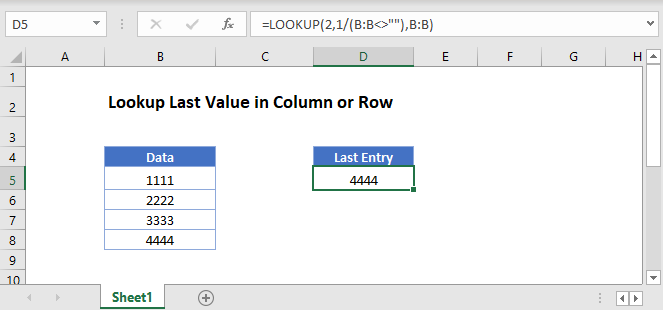 lookup last value column Main Function