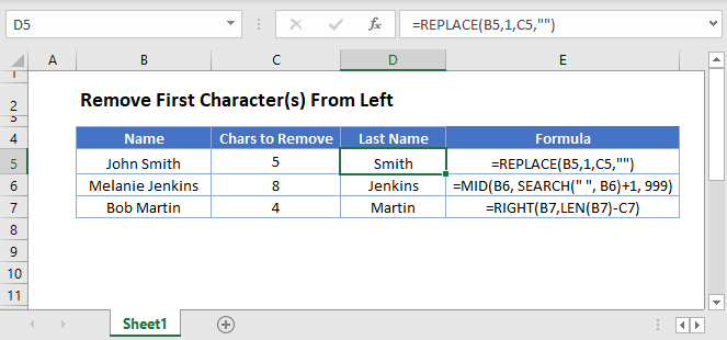 remove first chars from left Main Function