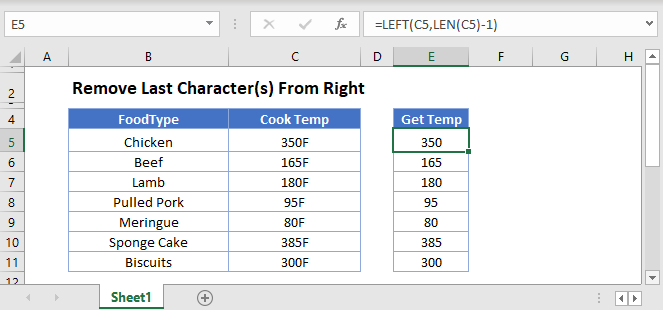 remove last chars from right Main Function