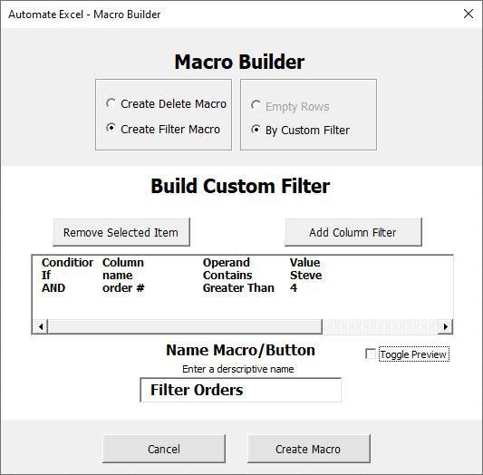 auto macro filter