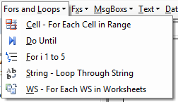 vba code library fors loops