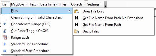 vba code library functions