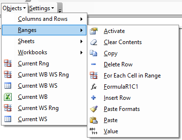 vba code library ranges