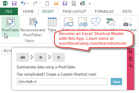 Excel pivot table shortcuts become a shortcut expert open pivot table wizard ccuart Gallery