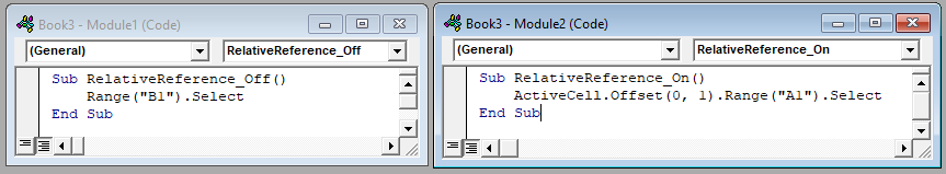 VBA Macro Recorder - Relative References